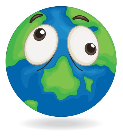 illustration of earth globe face on a white Stock Vector - 15393250
