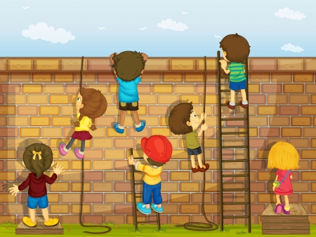 bimbi che giocano: illustrazione di ragazzi arrampicata su un muro di mattoni