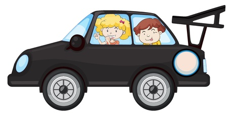 illustration of kids in a car on white background Vector