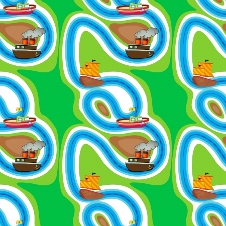 illustration of various ships on a colorful background Stock Vector - 15393344