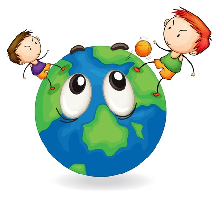 illustration of boys playing football on earth globe Vector