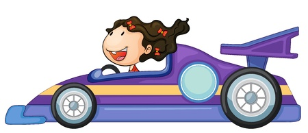 illustration of a girl driving a car on white Vector