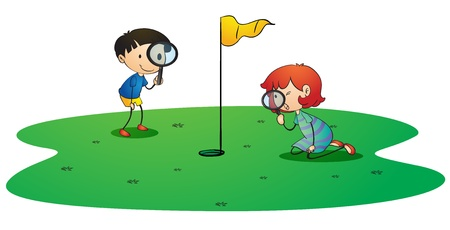 golf cartoon characters: illustration of kids on golf ground on white background