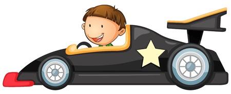 driving a car: Ilustraci�n de un muchacho que conduce un coche en blanco