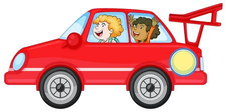 illustration of girls in a car on white background Vector