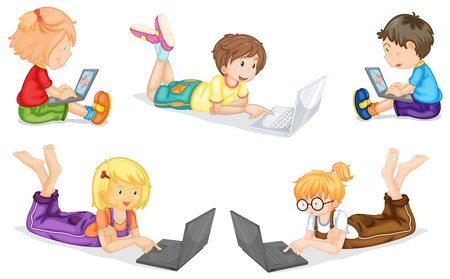 use computer: illustration of kids with laptop