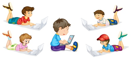 using laptop: illustration of kids and laptops on a white background
