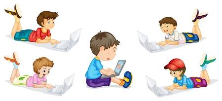using laptop: Illustrazione di bambini e laptop su uno sfondo bianco