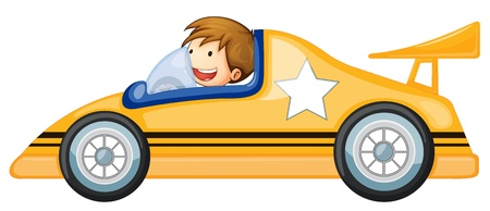 race cars: illustration of a boy driving a car on white