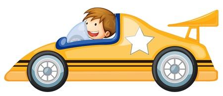 carritos de juguete: Ilustración de un muchacho que conduce un coche en blanco