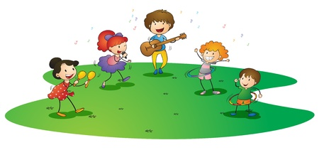illustration of a kids enjoying music on white background Vector