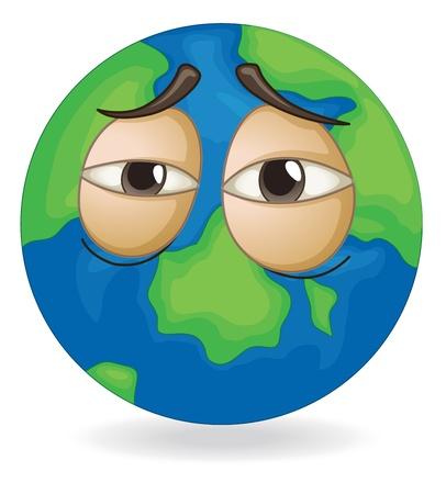 ojos tristes: ilustración del globo terrestre cara soñolienta en blanco