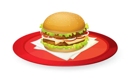 bacon art: illustration of burger in red dish on white Illustration