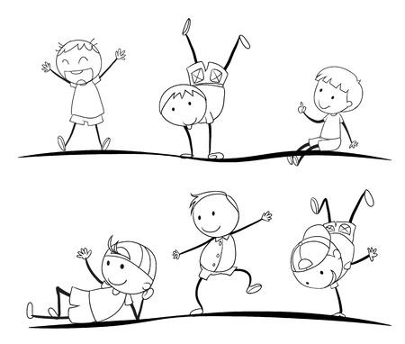 mujer hijos: ilustraci�n de los ni�os dibuja sobre un fondo blanco Vectores
