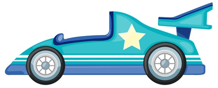 small car: illustration of a blue car on white background