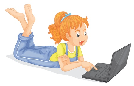 illustration of girl with laptop on a white background Vector