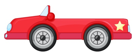 star cartoon: illustration of a red car on a white background Illustration