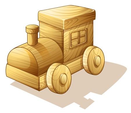 juguetes de madera: Ilustraci�n de motor del tren sobre un fondo blanco