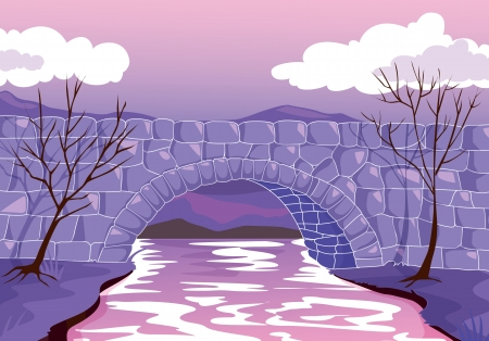 water stream: illustration of a beautiful bridge madeup of stones  Illustration