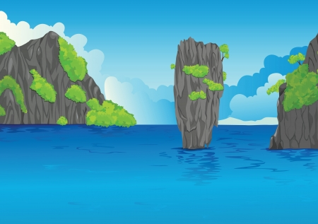 illustration of a beautiful water landscape and stone Vector
