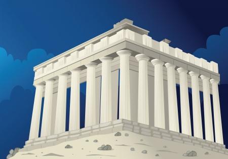 templo griego: Ilustraci�n de un Parten�n en Atenas en Grecia
