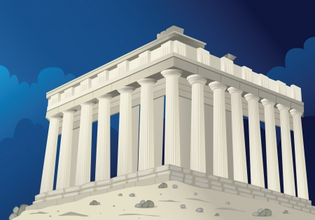 Illustration of a Parthenon in Athens in Greece Vector