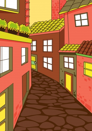 colony: illustration of a peaceful house colony and road Illustration