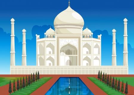 agra: illustration of Taj mahal of white marble in india