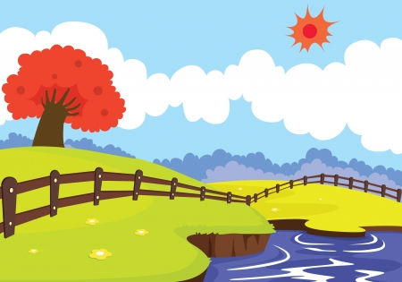 river water: illustration of a beautiful landscape and red tree Illustration