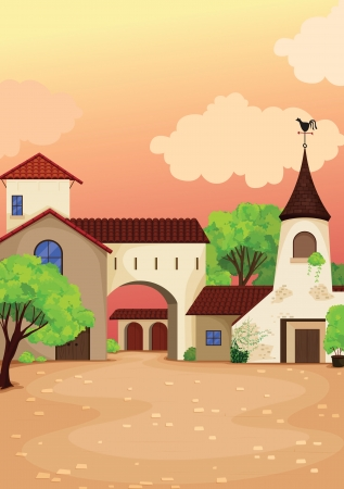 closed society: illustration of house colony and church in nature