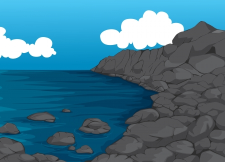 rocks water: illustration of a beautiful coast with natural stone wall