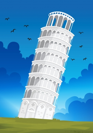Illustration of a Leaning Tower of Pisa in Italy Vector