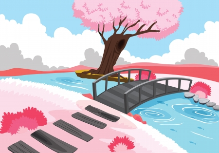 illustration of beautiful landscape and pink tree Stock Vector - 15401871