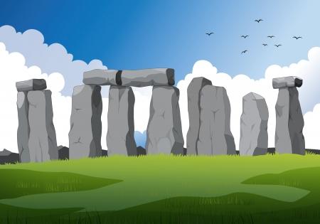 stonehenge: illustration of a beautiful stonehenge in England Illustration