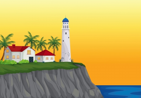 sea view: illustration of light house and appartment near water