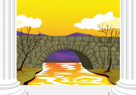 illlustration of beautiful bridge made up of stones Vector