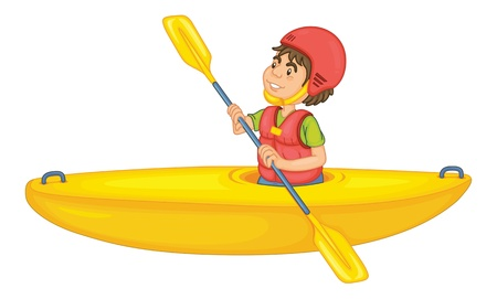 life jackets: illustration of a man in a boat on white background Illustration