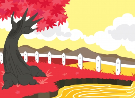 illustration of beautiful landscape and red tree Stock Vector - 15401867
