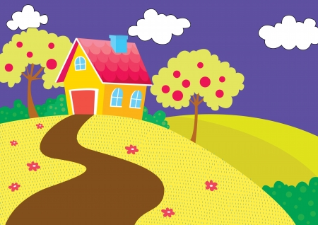 illustration of beautiful house in pleasant nature Stock Vector - 15401872