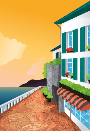 illustration of a corner view of appartment near water Stock Vector - 15401846