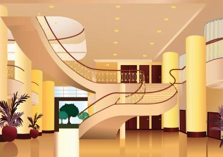 ilustración de la decoración del hogar hermoso y la vista en el interior