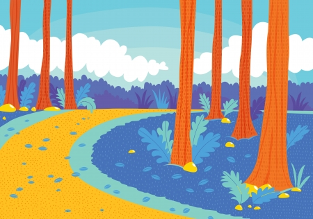 illustration of a beautiful road in woods Vector