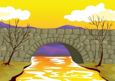 bridge in nature: illlustration of beautiful bridge made up of stones