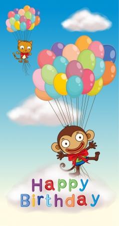 flying monkey: illustration of happy birthday poster