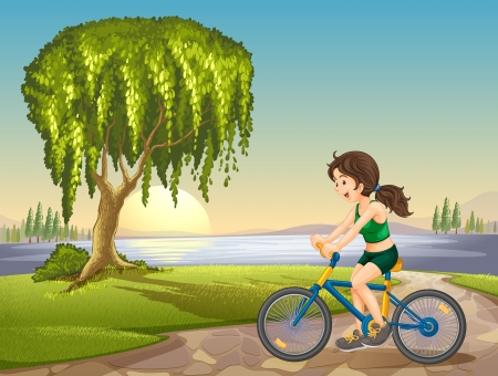 under water grass: illustration of a girl and bicycle around tree in a nature Illustration
