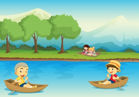 river bank: illustration of kids and boat in a beautiful nature