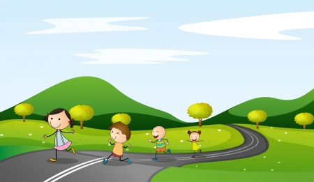 rural road: illustration of kids and road in a beautiful nature