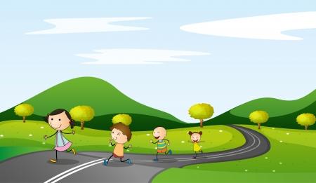 ilustración de los niños y de carreteras en una hermosa naturaleza Ilustración de vector
