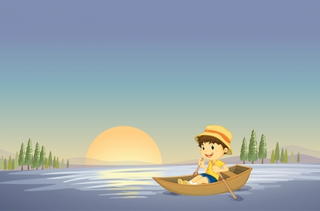 rowboat: illustration of a boy and boat in a beautiful nature