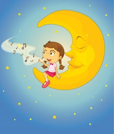 niño cantando: ilustración de una chica y la luna en el cielo nocturno